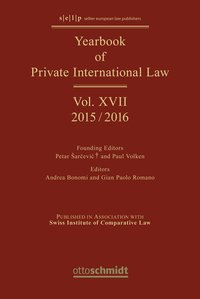 Cover Yearbook of Private International Law Vol. XVIII – 2016/2017