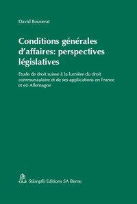 Cover Conditions générales d'affaires: perspectives législatives