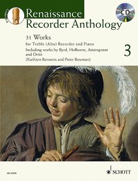 Cover Renaissance Recorder Anthology, für Alt-Blockflöte und Klavier, m. Audio-CD. Vol.3
