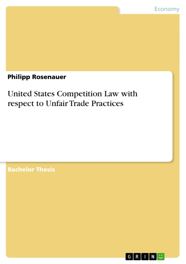 Cover United States Competition Law with respect to Unfair Trade Practices