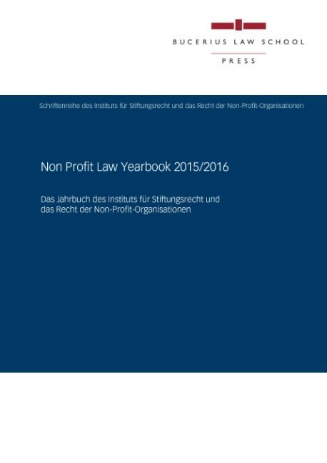 Cover Non Profit Law Yearbook 2015/2016