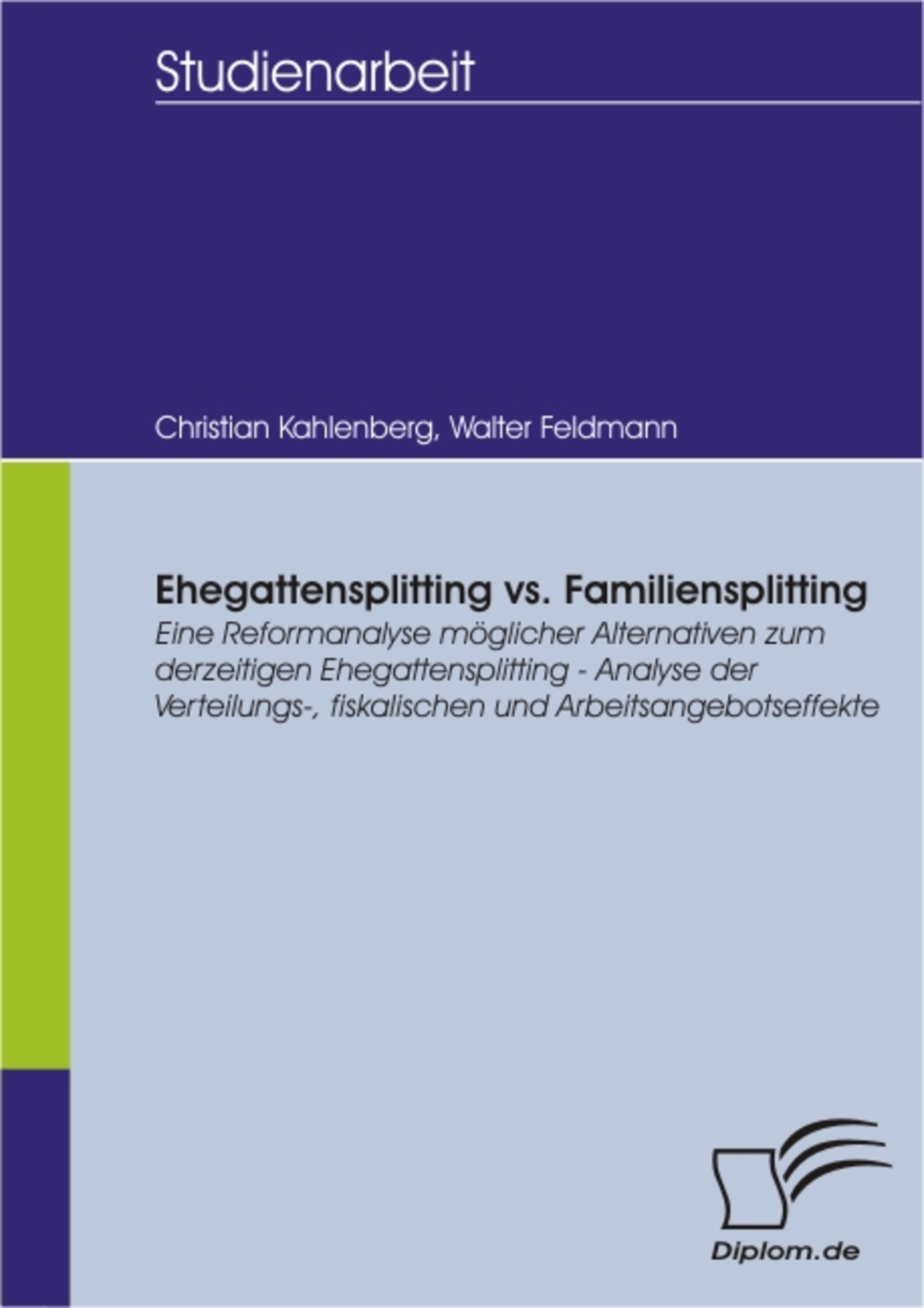 Cover Ehegattensplitting vs. Familiensplitting